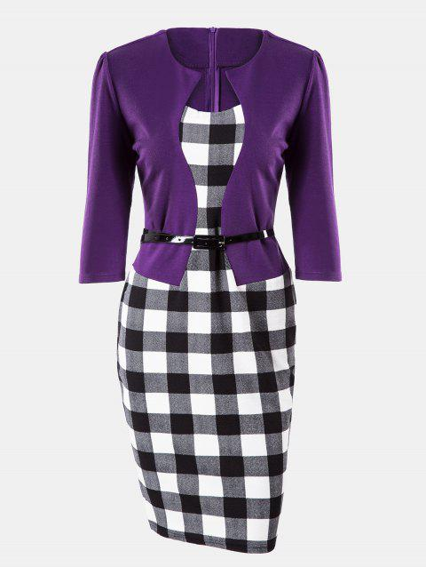 Plaid Stitching Seven Sleeves Business Slim Pencil Dress - PURPLE XL