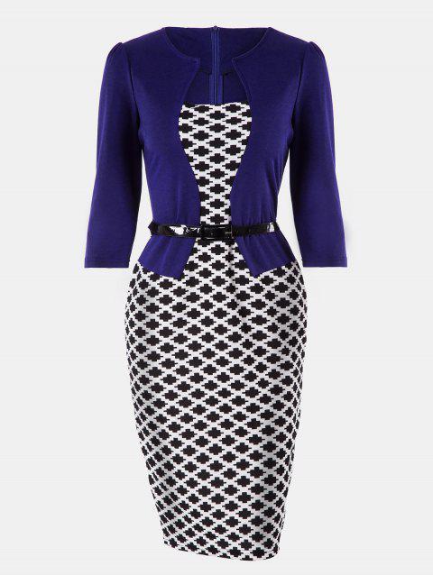 Plaid Stitching Seven Sleeves Business Slim Pencil Dress