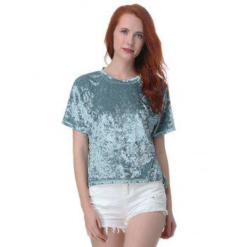 Velvet Round Neck Short Tops - BLUE XL