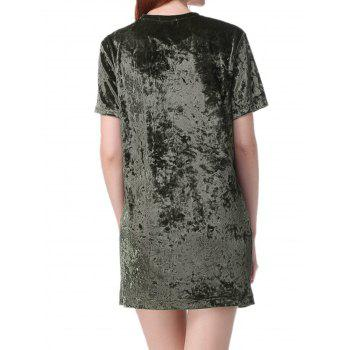 Gamiss Womens Crushed Velvet O Neck Casual Short Sleeve Loose T-Shirt Dress - ARMY GREEN L