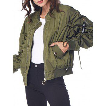 Bomber Loose Baseball Coats - ARMY GREEN L