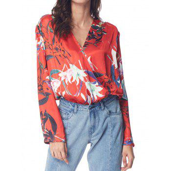 Floral Wrap Front Ruffle Loose Top - RED XL
