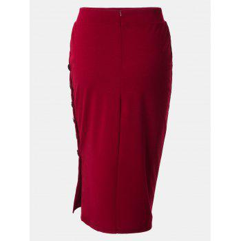 Women Midi Skirt Open Slit Button Slim Pencil Skirt - WINE RED XL
