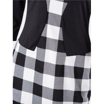 Plaid Stitching Seven Sleeves Business Slim Pencil Dress - BLACK 2XL