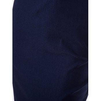 Women Mid Length Pencil Dress With A Small Round Collar and Sleeveless - DEEP BLUE XL