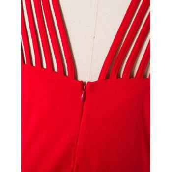 Women Mid Length Pencil Dress With A Small Round Collar and Sleeveless - DEEP RED XL