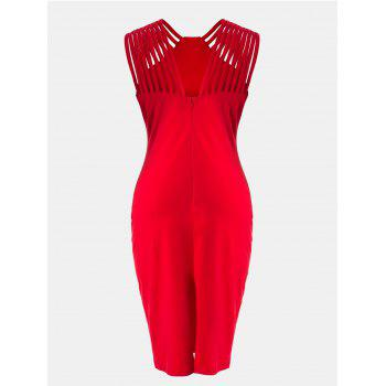 Women Mid Length Pencil Dress With A Small Round Collar and Sleeveless - DEEP RED L