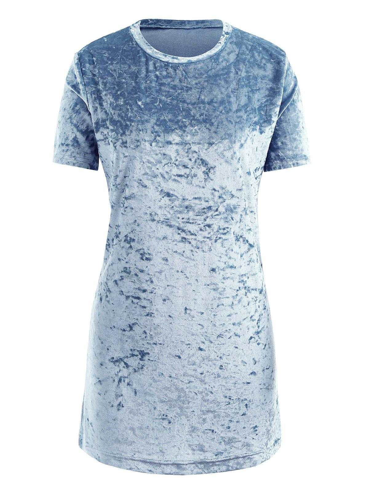 Gamiss Womens Crushed Velvet O Neck Casual Short Sleeve Loose T-Shirt Dress - BLUE S