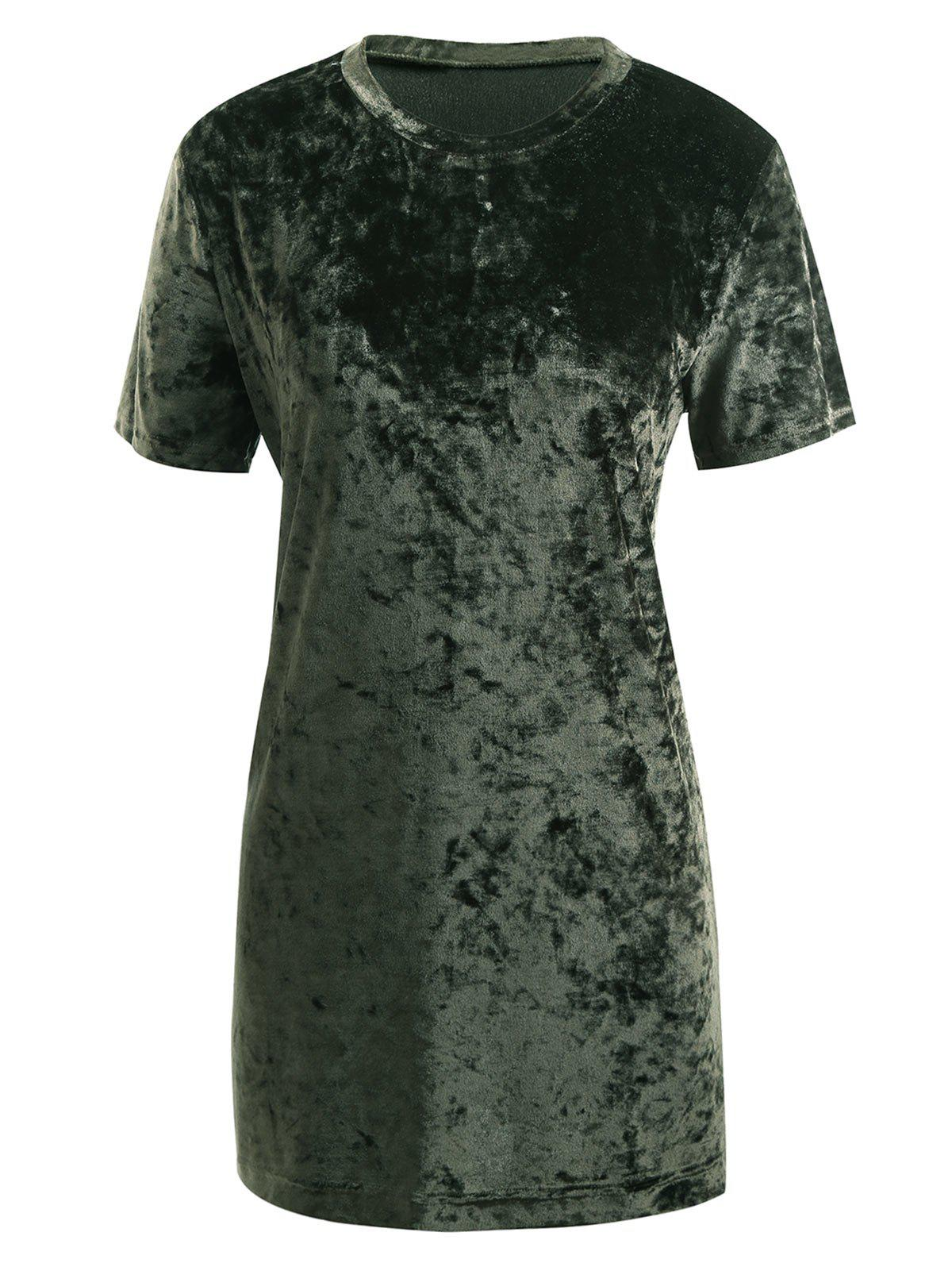 Gamiss Womens Crushed Velvet O Neck Casual Short Sleeve Loose T-Shirt Dress - ARMY GREEN XL