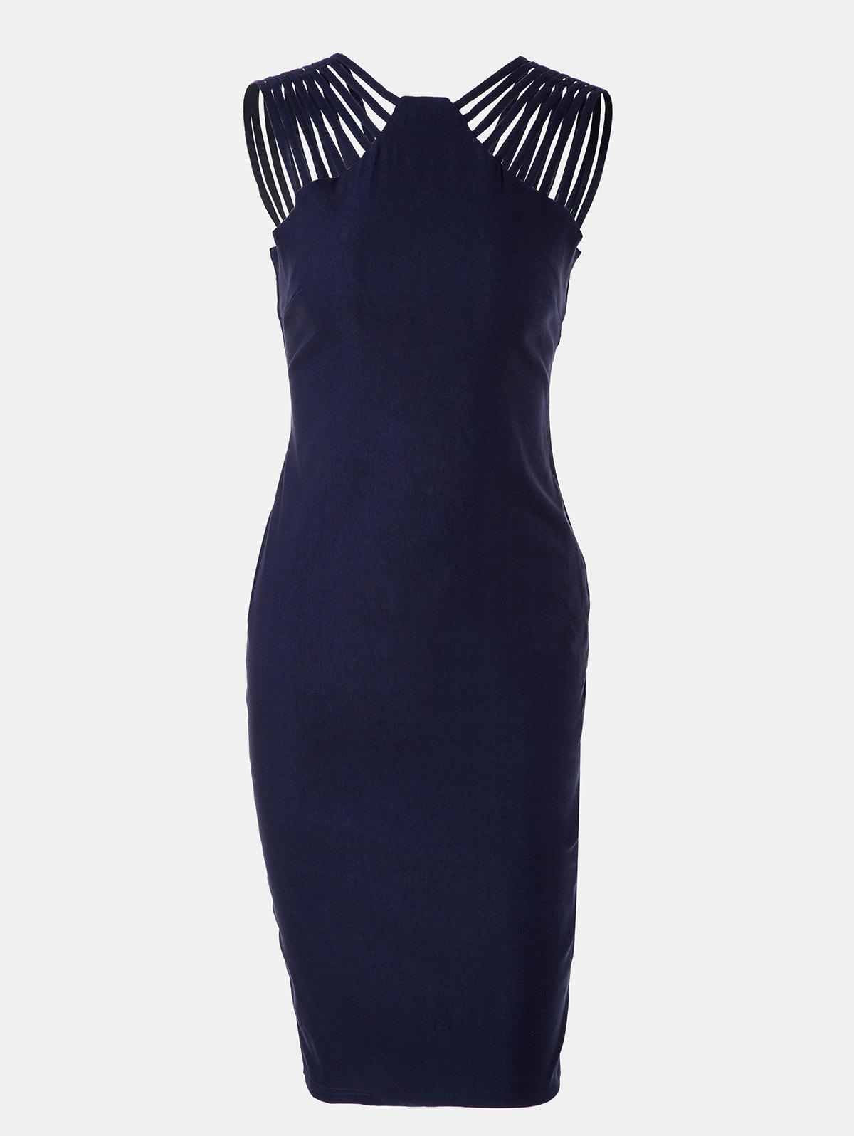 Women Mid Length Pencil Dress With A Small Round Collar and Sleeveless - DEEP BLUE L
