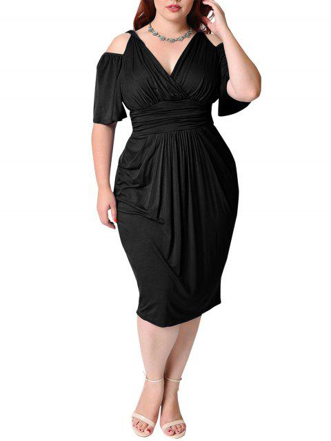 Plus Size Deep V Pleated Off shoulder Dress - BLACK 5XL