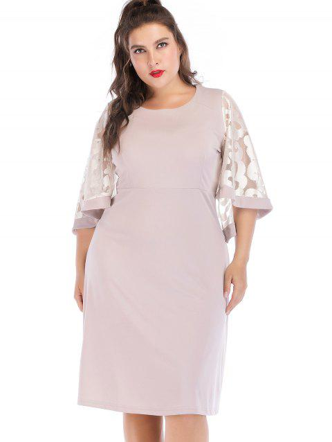 Plus Size Lace Bell Sleeve Dress - LIGHT PINK 3XL
