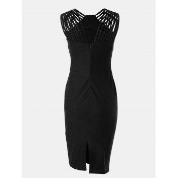 Women Mid Length Pencil Dress With A Small Round Collar and Sleeveless - BLACK 2XL