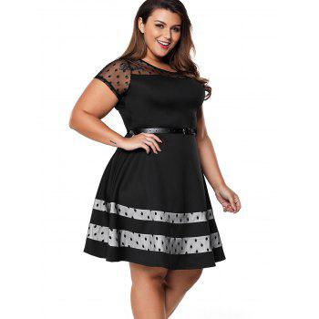 Plus Size Polka Dot Net Cloth Stitching Dress - BLACK XL