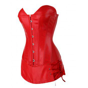 Plus Size PU Corset Boned Overbust Corset - RED S