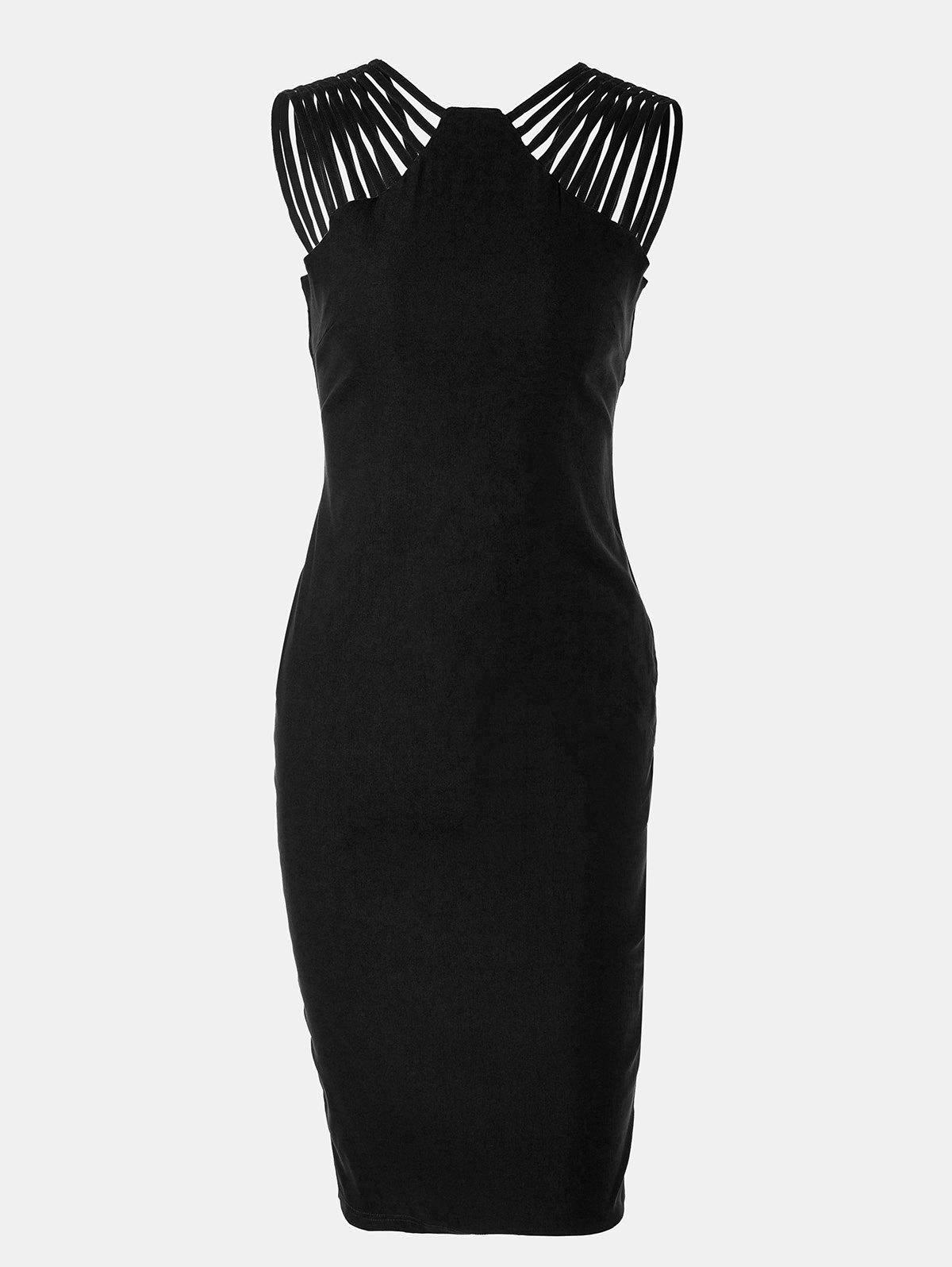 Women Mid Length Pencil Dress With A Small Round Collar and Sleeveless - BLACK M