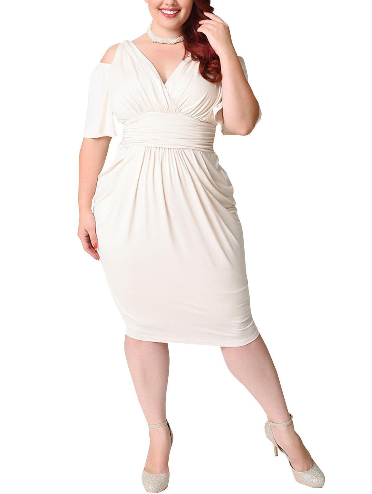 Plus Size Deep V Pleated Off shoulder Dress - WHITE 5XL