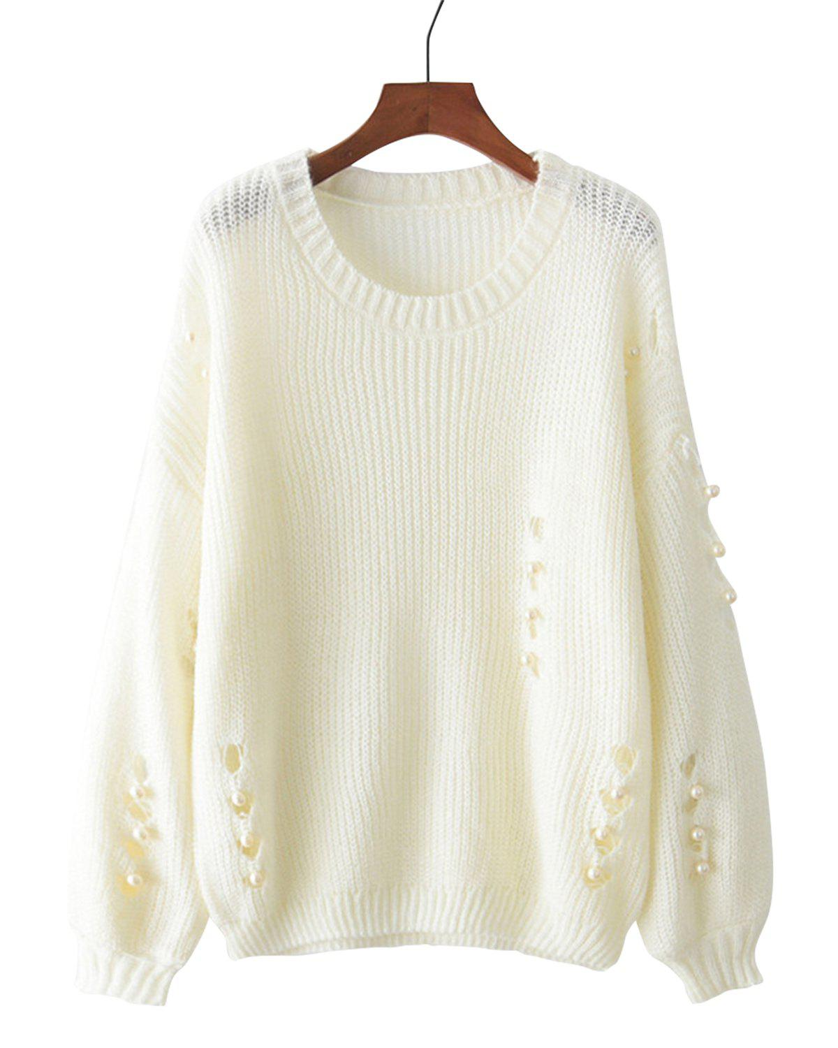 Pearl Holes Sweater - BEIGE