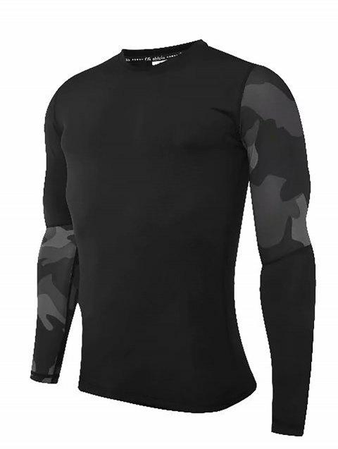 Compression T-Shirt Men Tight Jersey Fitness Sport Suit Gym Blouse Running Shirt Black Bodybuilding Sportswear Lshen508 - BLACK XL