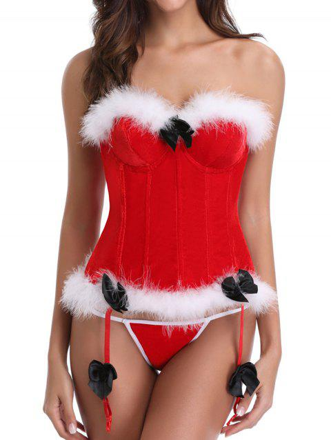 Bowknot Christmas Corset - RED 2XL