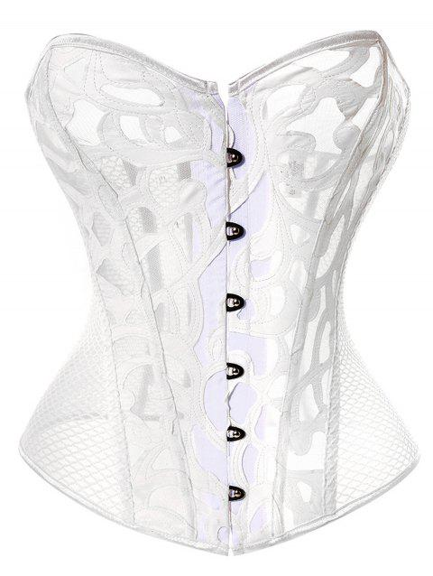 Gothic Mesh Fabric Hollow Out Corset - WHITE XL