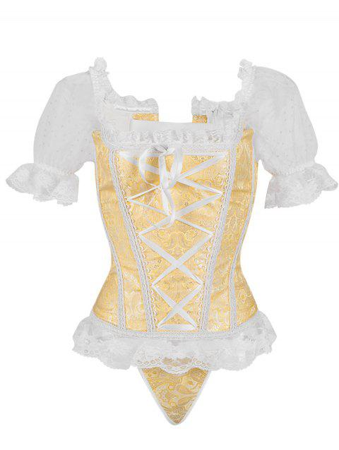 Princess Floral Ruched Sleeves Costume Corset - GOLD 2XL