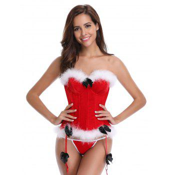 Bowknot Christmas Corset - RED L