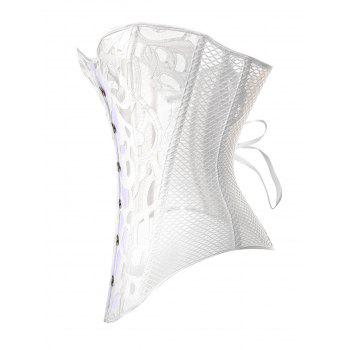 Gothic Mesh Fabric Hollow Out Corset - WHITE M