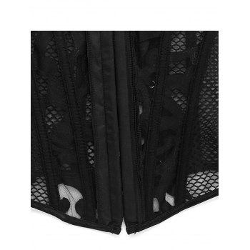 Gothic Mesh Fabric Hollow Out Corset - BLACK XL