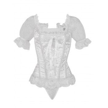 Princess Floral Ruched Sleeves Costume Corset - WHITE XL