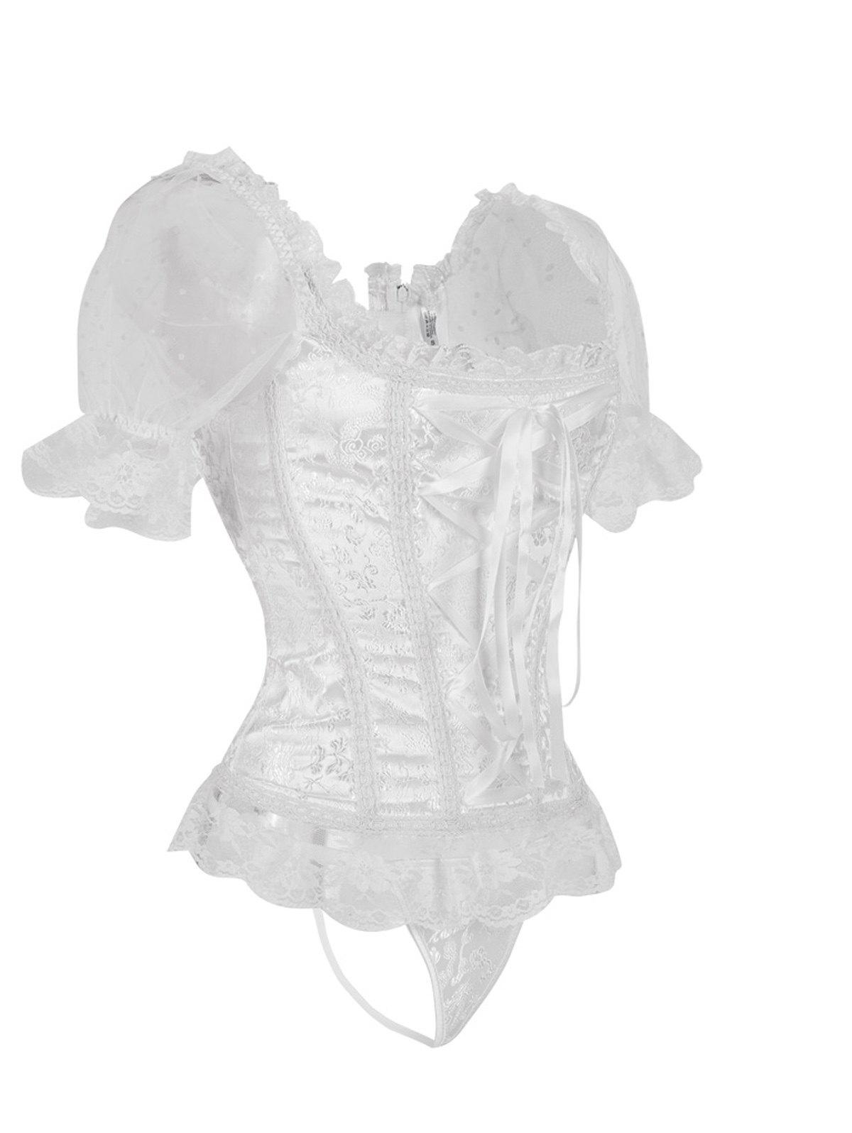 Princess Floral Ruched Sleeves Costume Corset - WHITE L