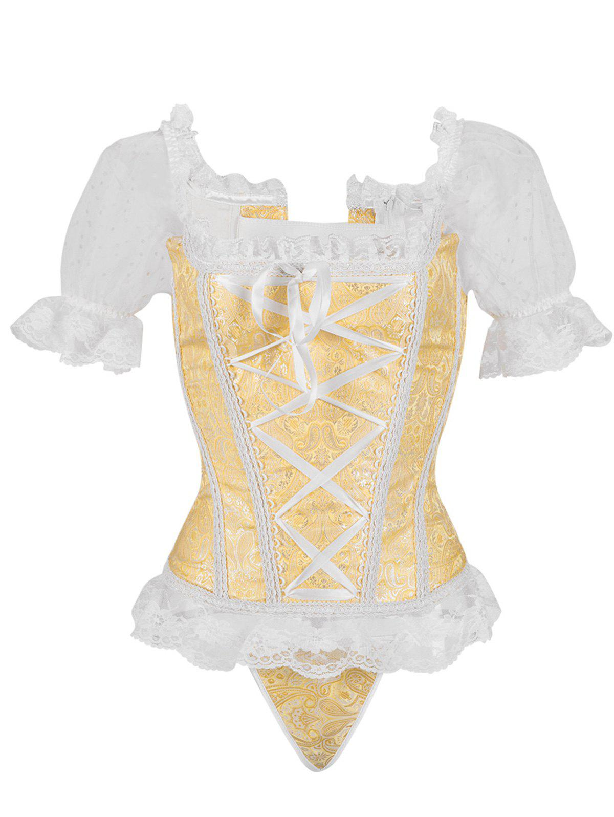 Princess Floral Ruched Sleeves Costume Corset - GOLD XL