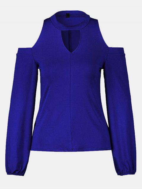 Women's Round Neck And A Long Sleeve Dew Shoulder Tops - BLUE 2XL
