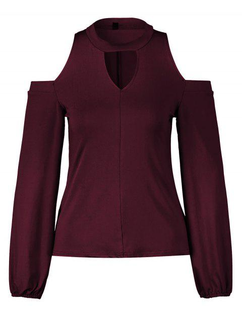 Women's Round Neck And A Long Sleeve Dew Shoulder Tops - RED WINE S