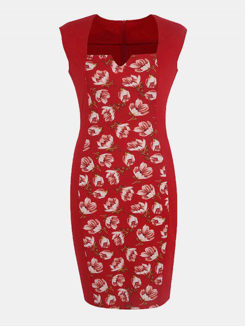 Women's Floral Print Stitched Slim Pencil Dress - LAVA RED S