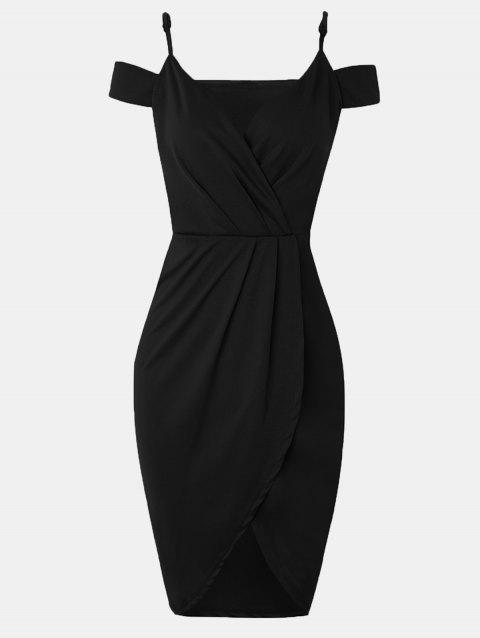 Women V-neck Wrap dress With Irregular Dress - BLACK M