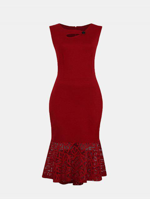Women Irregular Necklines And Sleeveless Lace Slim Dress - LAVA RED M
