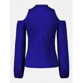 Women's Round Neck And A Long Sleeve Dew Shoulder Tops - BLUE S