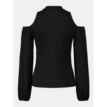 Women's Round Neck And A Long Sleeve Dew Shoulder Tops - BLACK XL