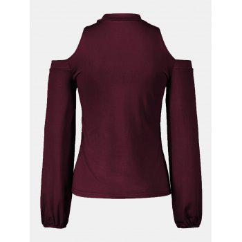 Women's Round Neck And A Long Sleeve Dew Shoulder Tops - RED WINE M