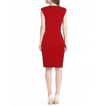 Women's Floral Print Stitched Slim Pencil Dress - LAVA RED M