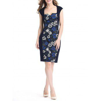 Women's Floral Print Stitched Slim Pencil Dress - DEEP BLUE M
