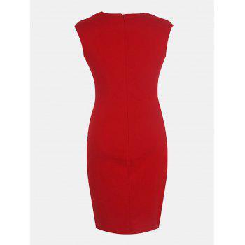 Women's Floral Print Stitched Slim Pencil Dress - LAVA RED L