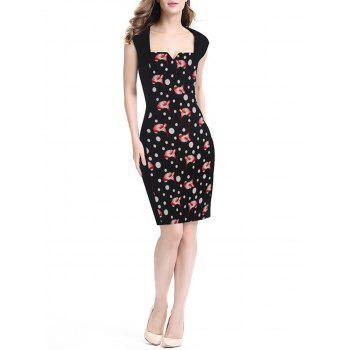 Women's Floral Print Stitched Slim Pencil Dress - BLACK M
