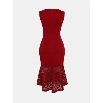 Women Irregular Necklines And Sleeveless Lace Slim Dress - LAVA RED L