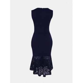 Women Irregular Necklines And Sleeveless Lace Slim Dress - DEEP BLUE 2XL