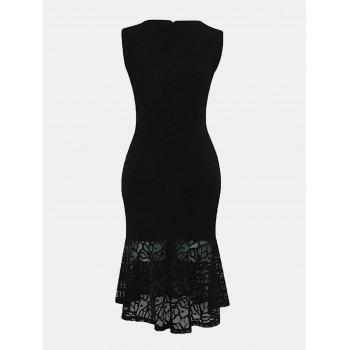 Women Irregular Necklines And Sleeveless Lace Slim Dress - BLACK 2XL