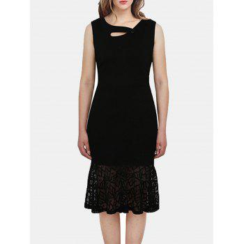 Women Irregular Necklines And Sleeveless Lace Slim Dress - BLACK M