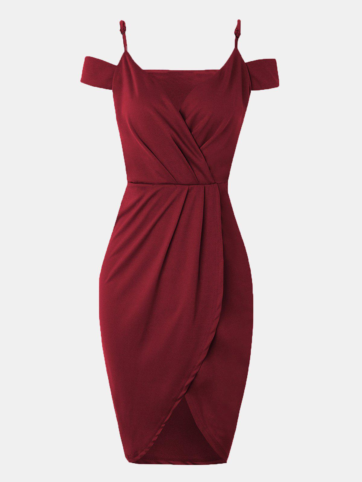 Women V-neck Wrap dress With Irregular Dress - RED WINE L