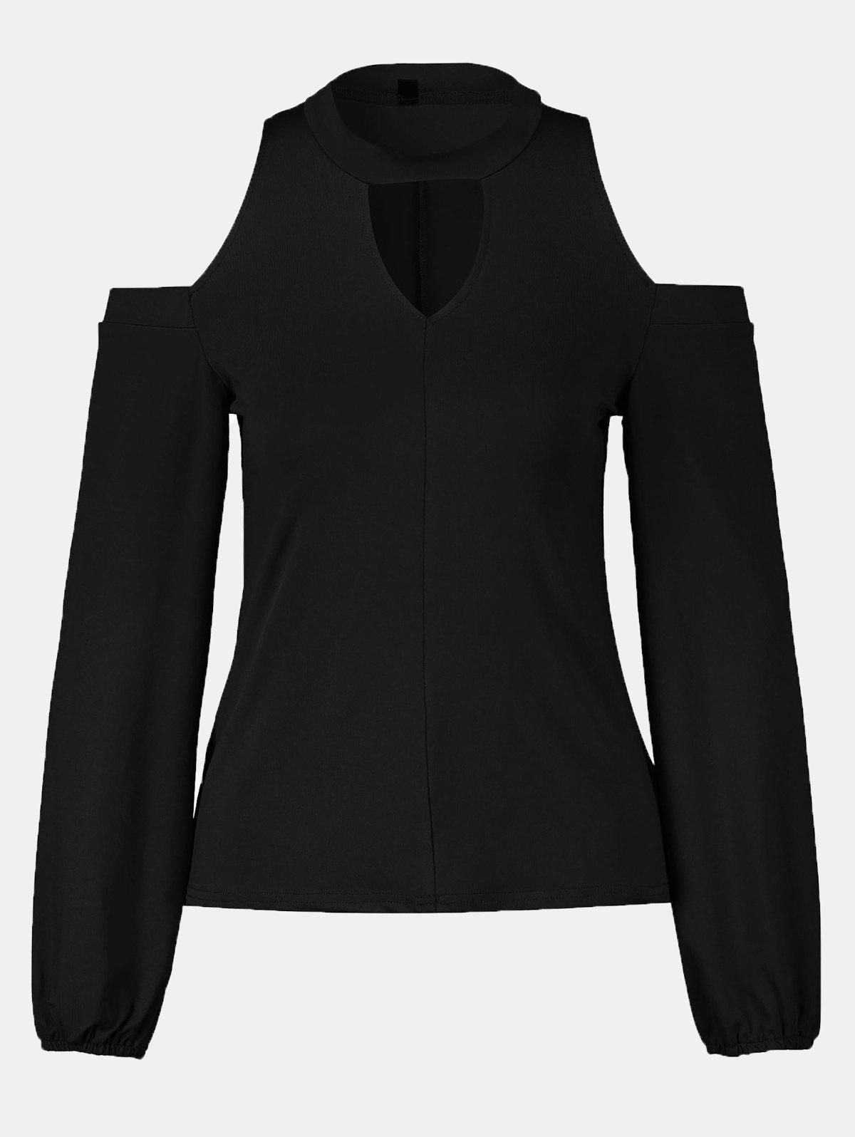 Women's Round Neck And A Long Sleeve Dew Shoulder Tops - BLACK L
